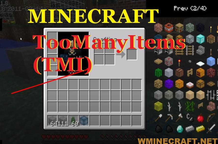 TooManyItems has access to spawners, providing a favorites list to store the items