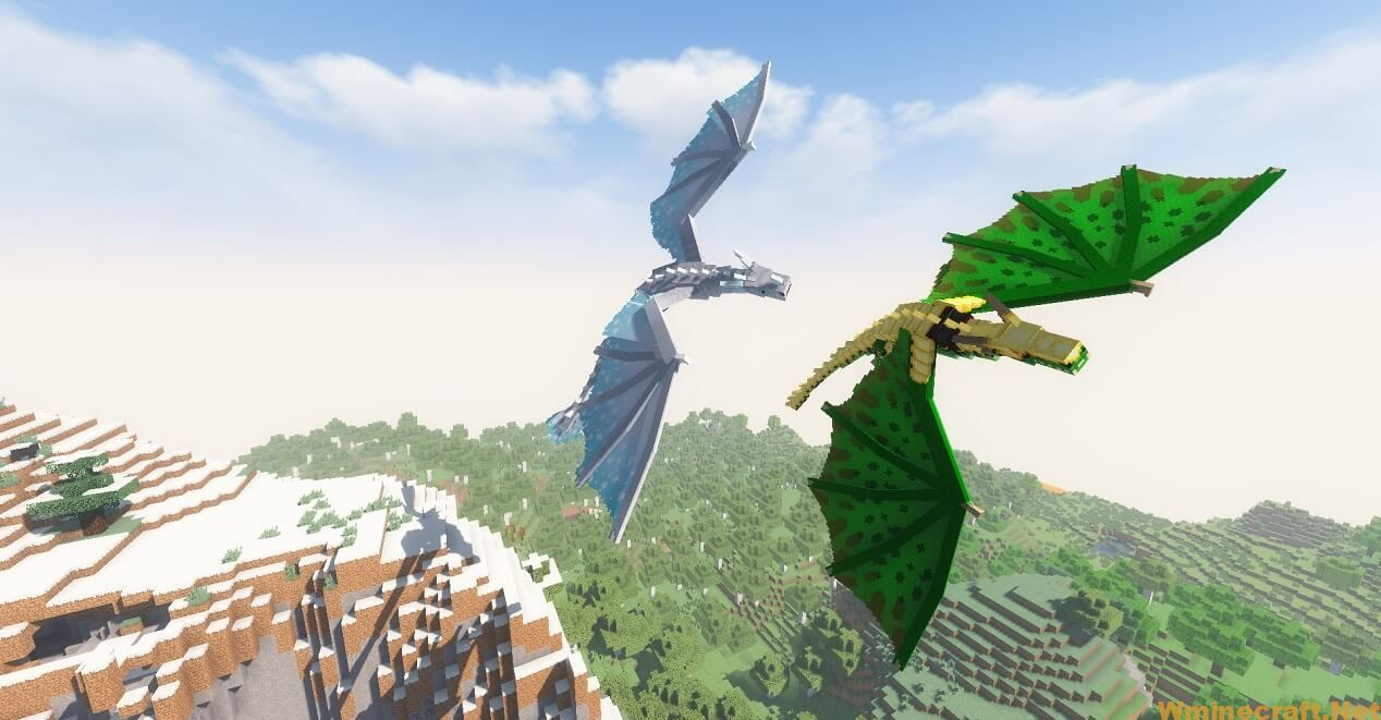 Tamed following dragons two tamed dragons follow their owner in the skies