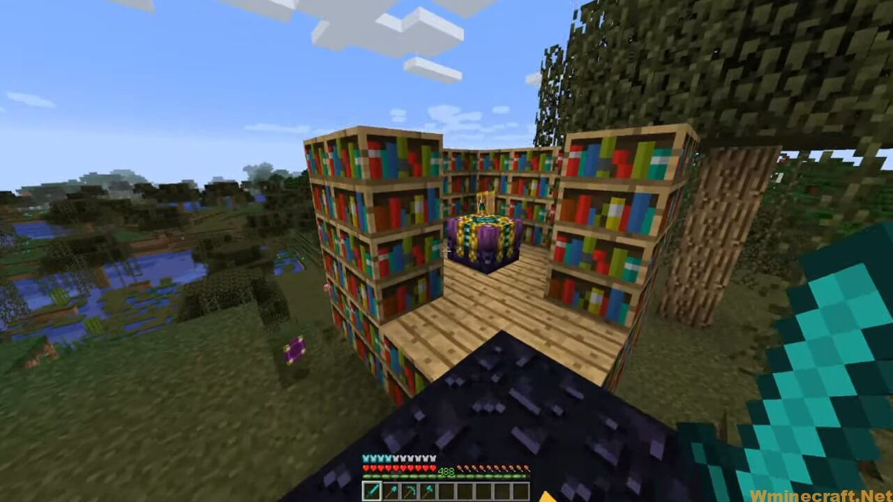 A 30 bookcase setup with maximum enchantment level at 130
